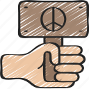 boomers, generations, peace, protest, protests icon