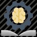 book, brain, education, formula, genius, knowledge, science icon