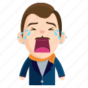 crying, emoji, emoticon, gentleman, man, sticker icon