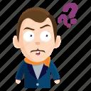 emoji, emoticon, gentleman, man, question, sticker icon
