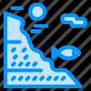 fish, fishing, rock, under, water icon