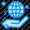charity, donate, globe, hand, world icon