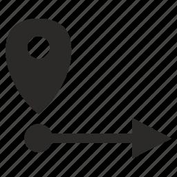 geo, location, poi, point, pointer, way icon