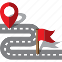 address, destination, flag, map, pin, road, route icon