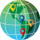 destinations, different, global, map, pins, travel, world icon