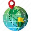 destination, flag, global, map, pin, route, world icon