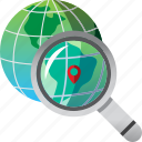 destination, find, global, magnifier, pin, search, world icon