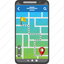 destination, distance, gps, map, mobile, route, smartphone icon