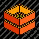 hollow, horizontal, stack icon