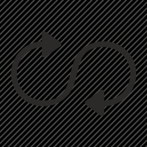 arrow, infinity, motion, rotate icon