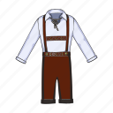 clothes, german, male, national, shirt, shorts, suspenders icon