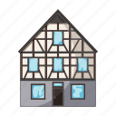 architecture, building, cottage, house, stained glass icon