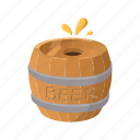 alcohol, barrel, beer, cartoon, old, wood, wooden icon