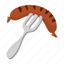 cartoon, cooked, food, meat, plate, pork, sausage icon