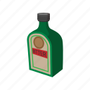 bitter, bottle, cartoon, cocktail, dark, hard, label icon