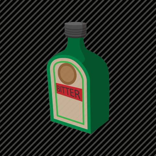 bitter, bottle, cartoon, cocktail, dark, hard, label icon