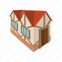 architecture, building, cartoon, facade, house, town, window icon