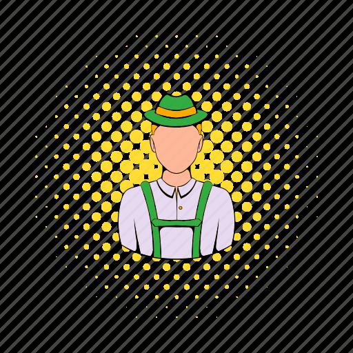 bavaria, comics, costume, german, hat, man, traditional icon