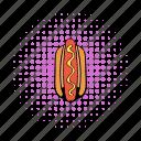 bun, comics, grilled, hotdog, meat, mustard, sausage