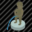 bathroom, isometric, man, object, pissing, toilet, urine icon
