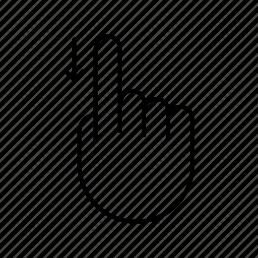 arrow, down, finger, gesture, hand, swipe icon