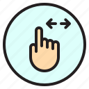 finger, gesture, horizontal, mobile, screen icon