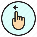 finger, gesture, left, mobile, screen icon