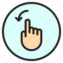 finger, gesture, left, mobile, rotate, screen icon
