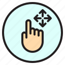 finger, gesture, mobile, move, screen icon