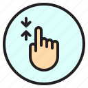 finger, gesture, mobile, screen, scroll icon