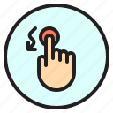 curve, down, mobile, screen, touch icon