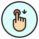 down, finger, gesture, mobile, screen, touch icon
