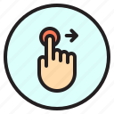 finger, gesture, mobile, right, screen, touch icon