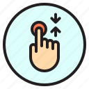finger, gesture, mobile, screen, scroll, touch icon