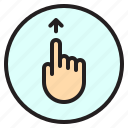 finger, gesture, mobile, screen, up icon