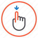 down, finger, gesture, mobile, screen icon