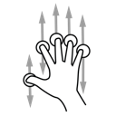 finger, five, gestureworks, scroll icon