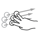 finger, flick, gestureworks, three icon