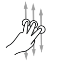 finger, gestureworks, scroll, three icon