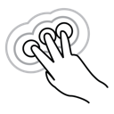 finger, gestureworks, tap, three, triple icon