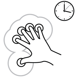 finger, five, gestureworks, hold icon
