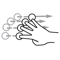 finger, flick, four, gestureworks icon