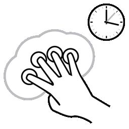 finger, four, gestureworks, hold icon