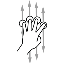 finger, four, gestureworks, scroll icon