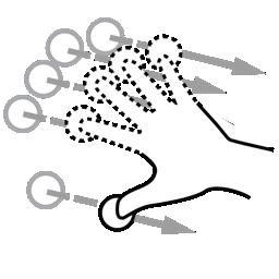 finger, flick, gestureworks, n icon