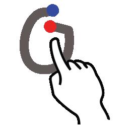 gestureworks, greek, omicron, stroke icon