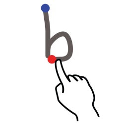 b, gestureworks, letter, lowercase, stroke icon