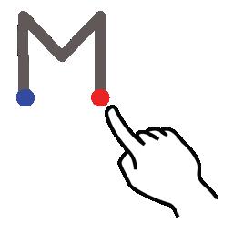 gestureworks, letter, m, stroke, uppercase icon