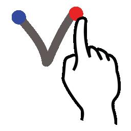 gestureworks, letter, lowercase, stroke, v icon