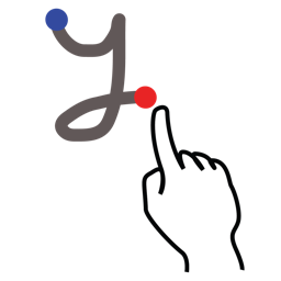 gestureworks, letter, lowercase, stroke, y icon